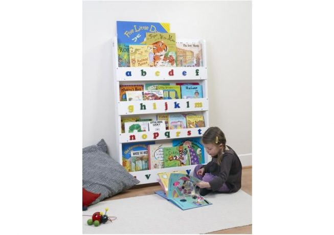 Children Bookcase in Whitewash Finish with Lowercase Letters