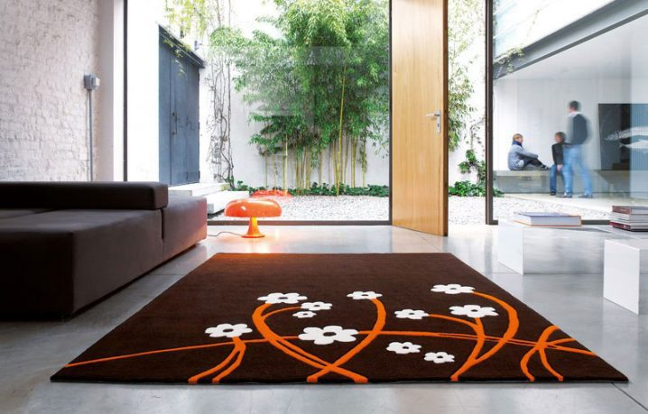 Contemporary Brown with Flowers Rugs from Dhesja