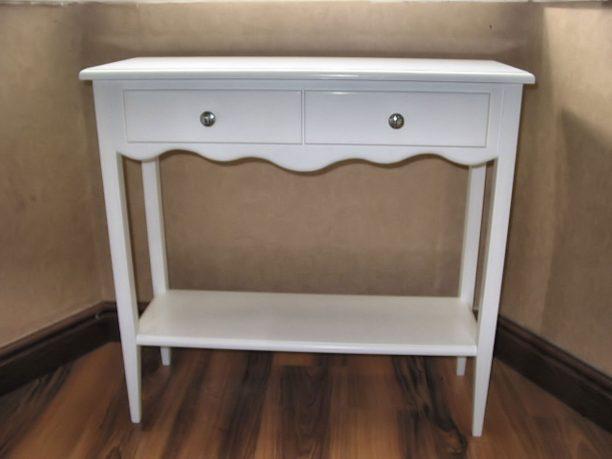 White Table With Doble Rack