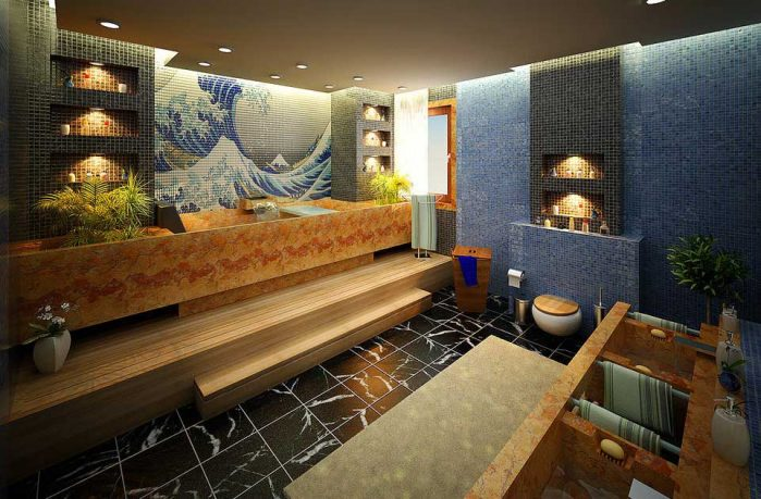 Artistic Kanagawa Print Tiled Bathroom Design