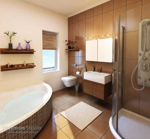 Awesome Bathroom with Wood and Brown Tiles Design