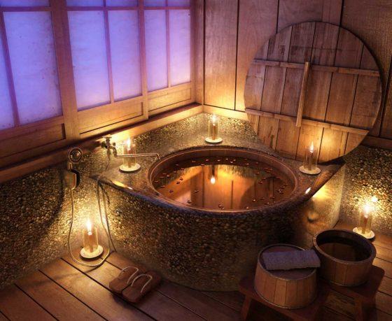 Bathroom Scene Night Time Rustic Bathroom with Flower Bath by-Mr Hahn