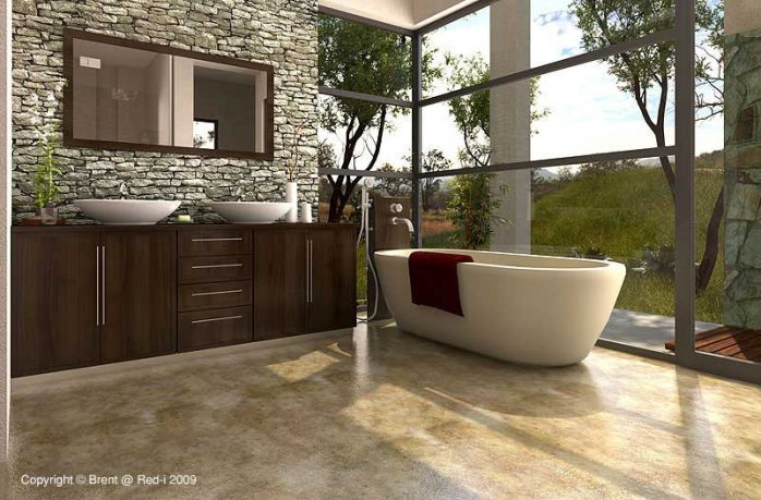 Bathroom with Glass Wall by Voodoo Butta