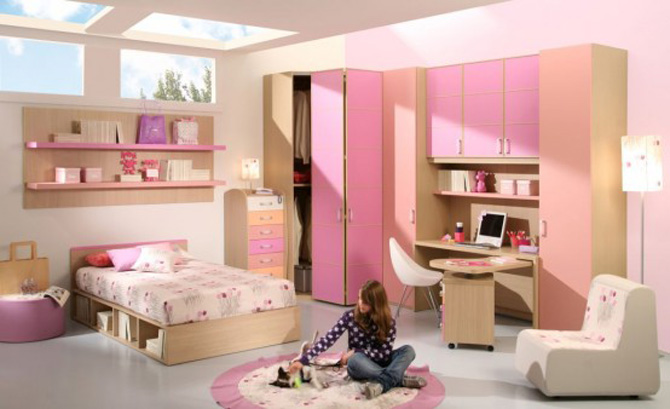 Beautiful Girl Room With Pink Furniture Set