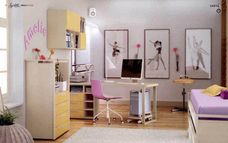 Beautiful Orange and Purple Dancer Kids Room Design Ideas