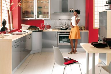 Beautiful Red Kitchen with Small Space