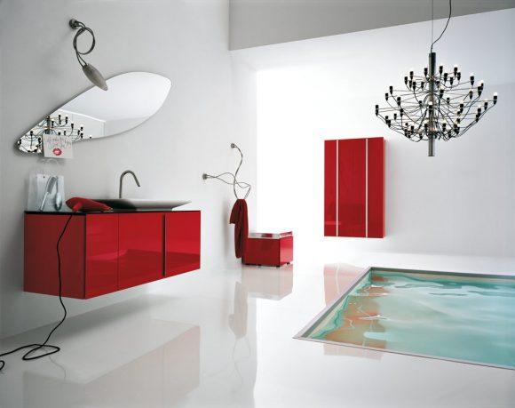 Best Modern White and Red Bathroom Floor Tub
