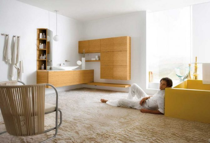 Best White and Yellow Bathroom with Large Rug