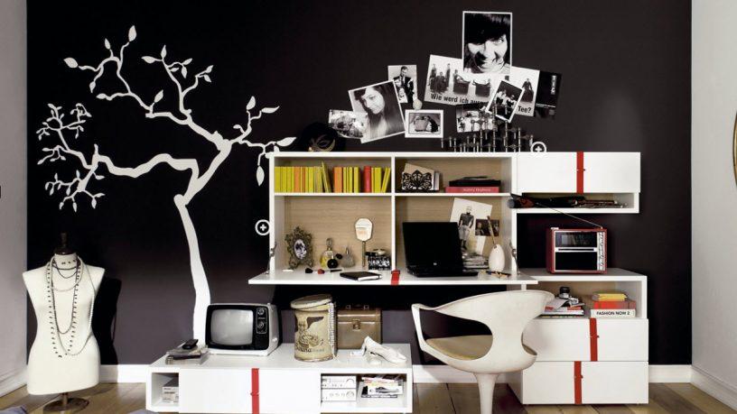 Black and White Trendy Teen Bedroom