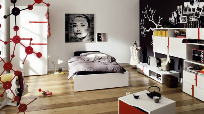 Black and White Trendy Teen Bedroom with Red Accents