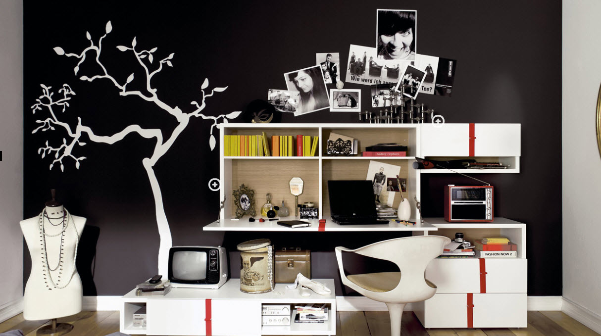 Groovy Black And White Trendy Teen Bedroom My Home Deco Mag Download Free Architecture Designs Rallybritishbridgeorg