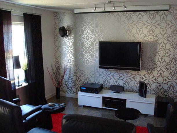 Carving Wallpaper Living Room Tv Setup