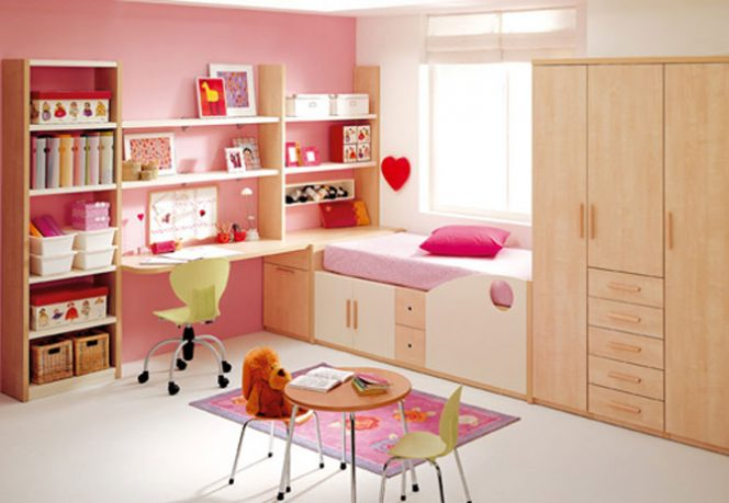 Cool Girls Pink Teen Bedroom with Wood Furniture Set