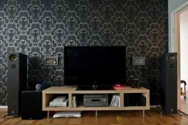 Dark Wallpaper Living Room Tv Setup