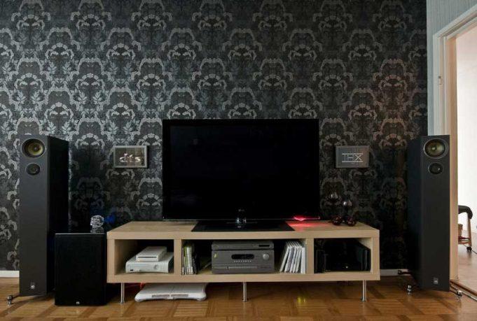 Dark Wallpaper Living Room Tv Setup