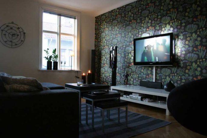 Floral Wallpaper Living Room Tv Setup