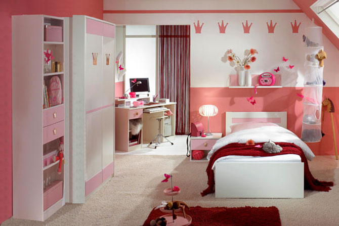 Girls Pink Badroom with Knick-Knacks and Red Rug