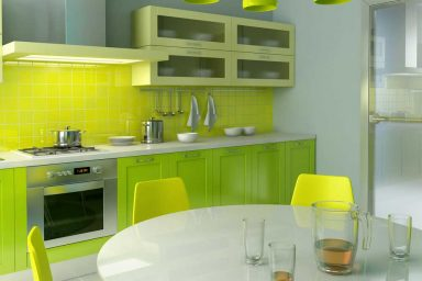 Green and Yellow Kitchen Combination Design