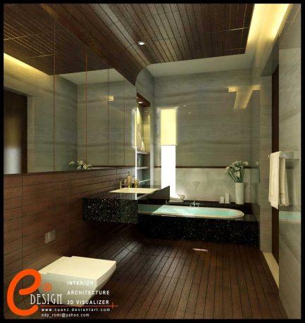 Master Bathroom with Wooden Floor by Cuanz