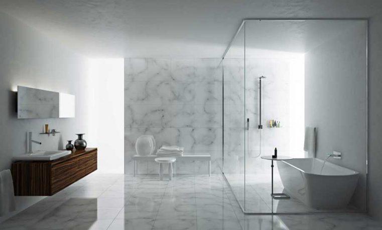 Minimalist and Modern Marble Bathroom Design