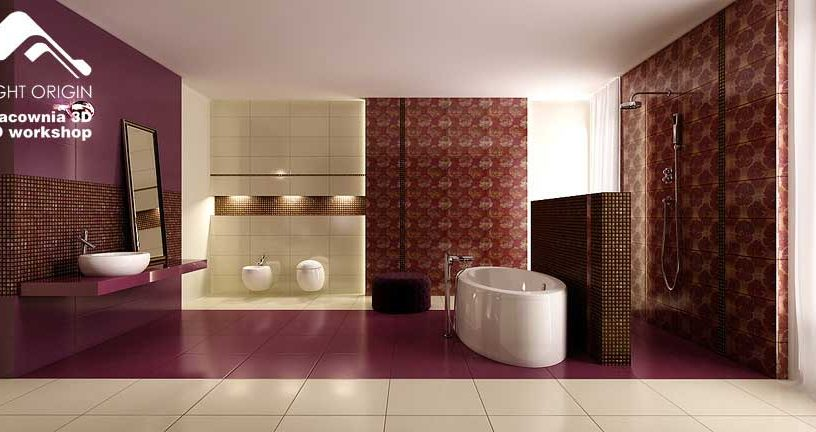 Modern Bath with Brick Wall Dark Purples