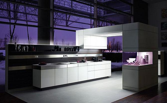 Modern German Purple Kitchen Design Lighting