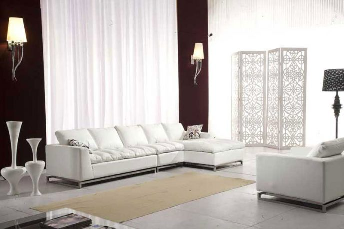 Modern Leather Sofa Sectional with Chair