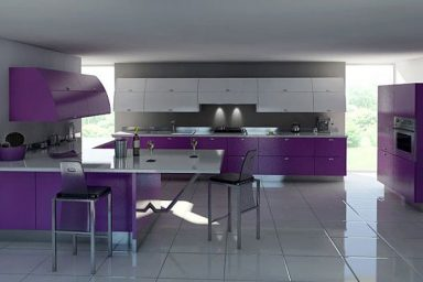 Modern White and Purple Kitchen Furniture Ideas