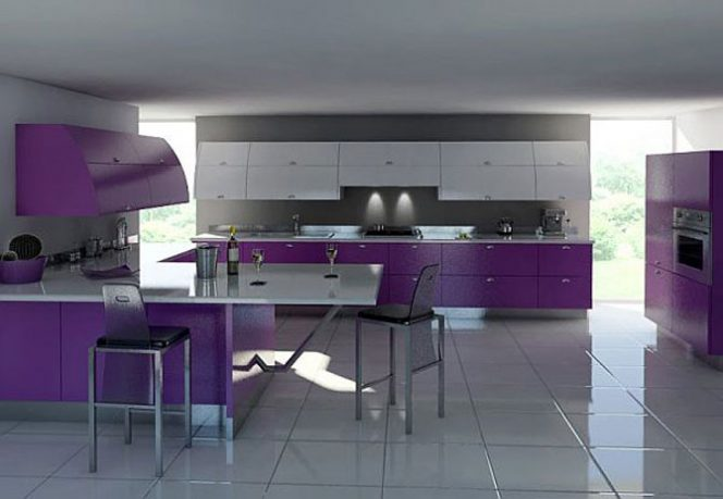 Modern White and Purple Kitchen Furniture Ideas