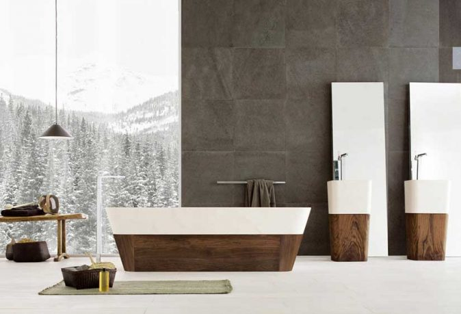 Nice Bathrooms from Neutra with Wood elements and Ice Mountain Wallpaper