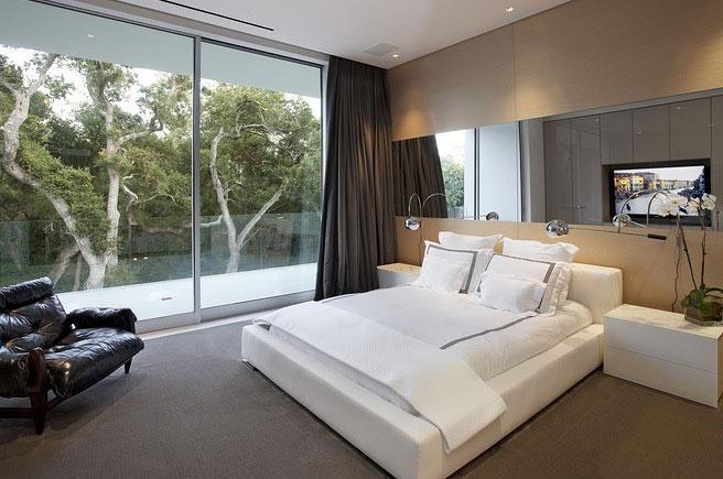Open Bedroom With Sliding Glass Door Glass Pavilion