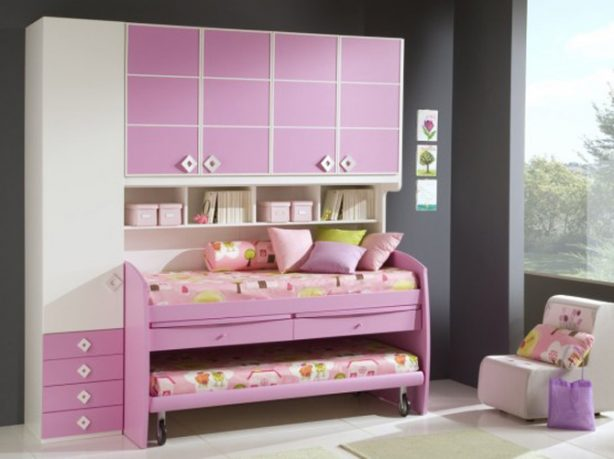 Pink Bunk Beds Funiture Set and Grey Wall Color
