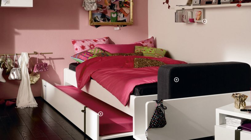 Pinky Trendy Teen Bedroom with Sliding Bed