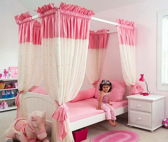 Princes Pink Bedroom with Canopy Bed