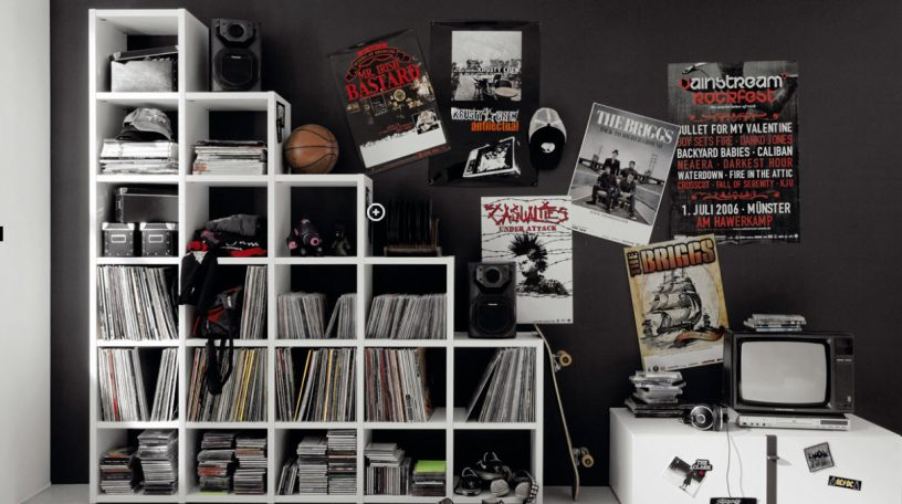 Rocker and Trendy Teen Bedroom with White Cabinet