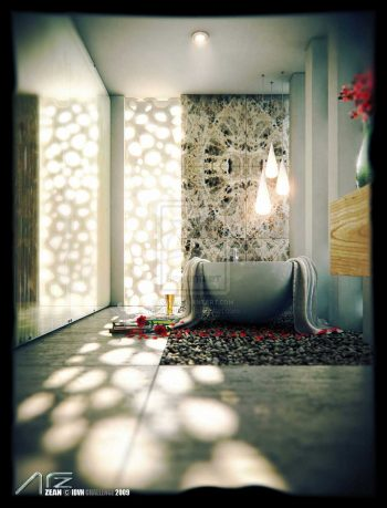Semi Natural Z Bathroom by Artzen Side View