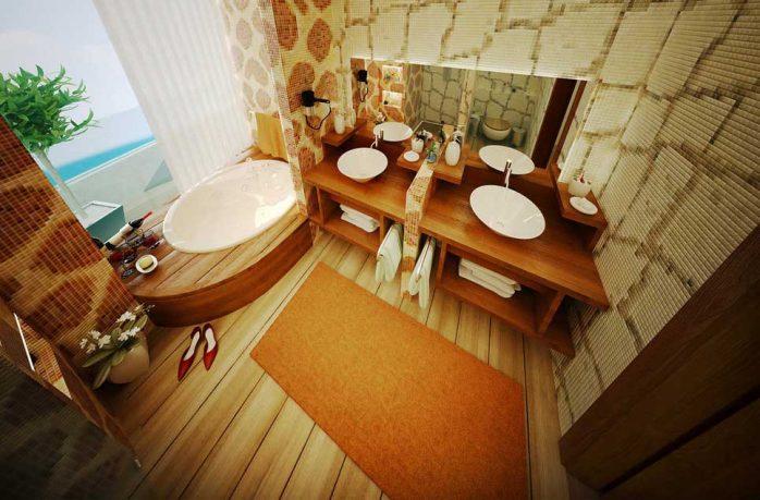 Sexy Orange Wood Beige Bathroom Design Ideas