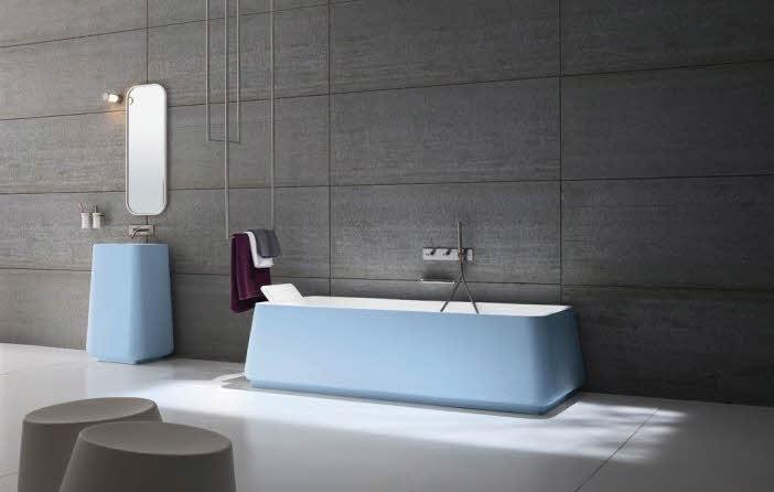 Simple Modern Bathroom Blue Sea Color Bathub Designs Ideas from Rexa