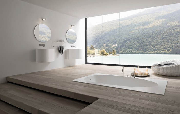 Simple Modern Bathroom View Lake and Montain from Rexa