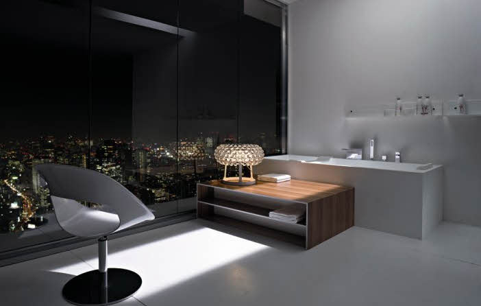 Simple Modern Bathroom Views of the City at Night from Rexa