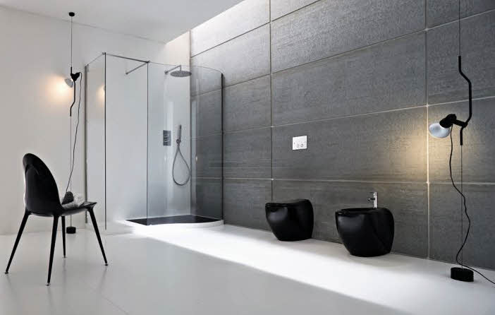 Simple Modern Bathroom With Black Component Designs Ideas from Rexa