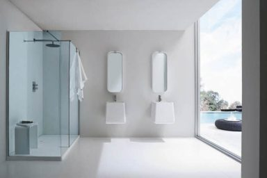 Simple Modern Bathroom with Twin Wastafel from Rexa
