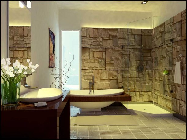 Unique And Exotic Stone Wall Bathroom by Arkiden124