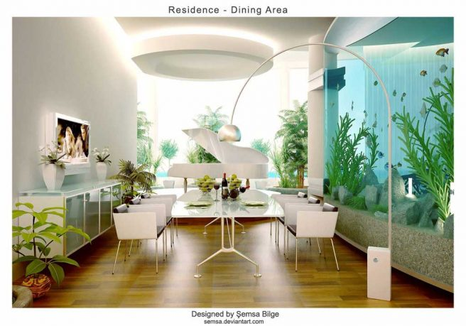 White Themed Dining Room Design Ideas Glass Aquarium on the Side
