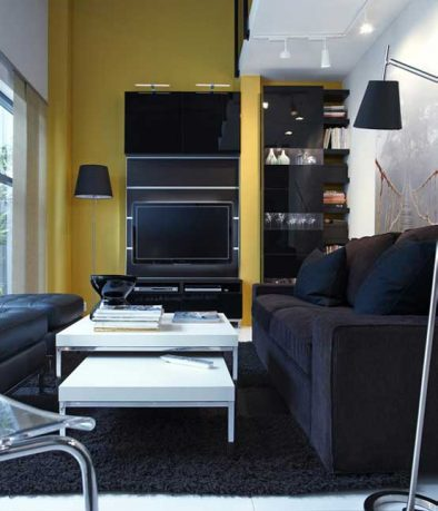 2011 IKEA Black and Yellow Living Room with Small Space