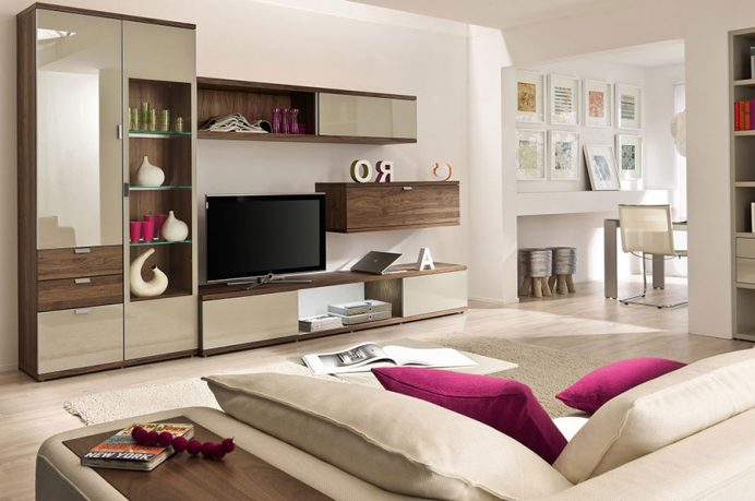 Artful Storage in Modern Beige Living Room with Purple Accents