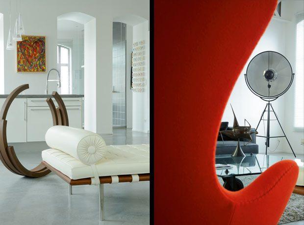 Artistic and Minimalist Living Room Loft Design