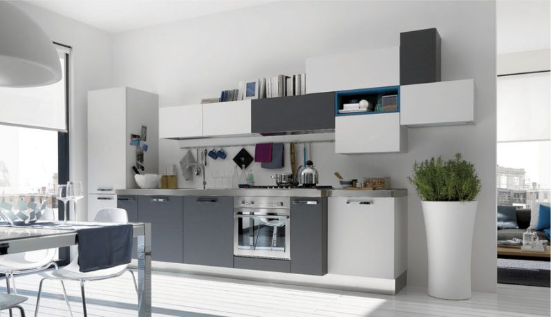 Awesome White and Grey Kitchen with Blue Accents