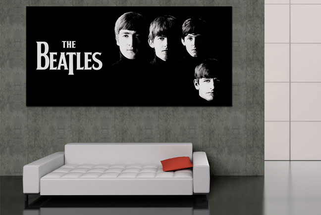 Beatles Poster and White Couch in Living Room