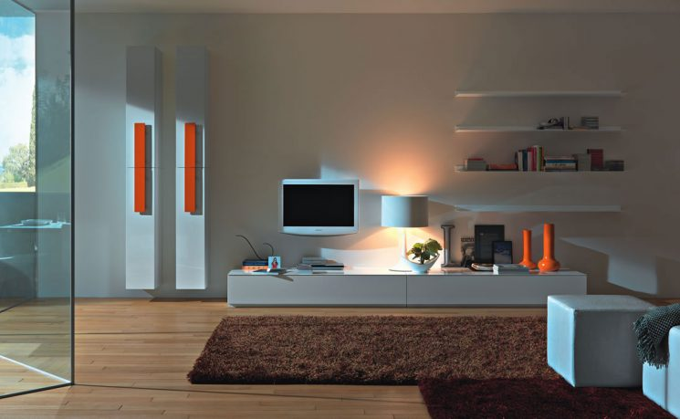 Beautiful White Wall Unit Furniture with Brown Rug